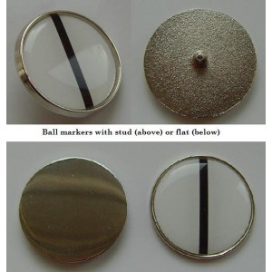 resin domed metal golf ball markers with spike or flat