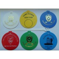 Round Plastic Golf Bag Tags One Colour Print- 1 Side (Double Sided by quotation)