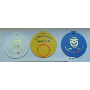 Round Plastic Golf Bag Tags Two Colour Print- 1 Side (Double Sided by quotation)